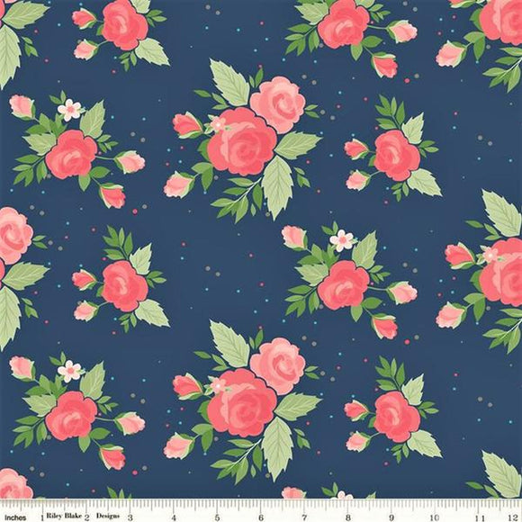 Winifred Rose Large Blue Floral Fabric C9220-Navy from Riley Blake by the yard