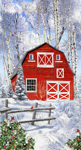 "Winter Barn 24"" x 44"" Holiday Barn Panel C7868 from Timeless Treasures by the panel"
