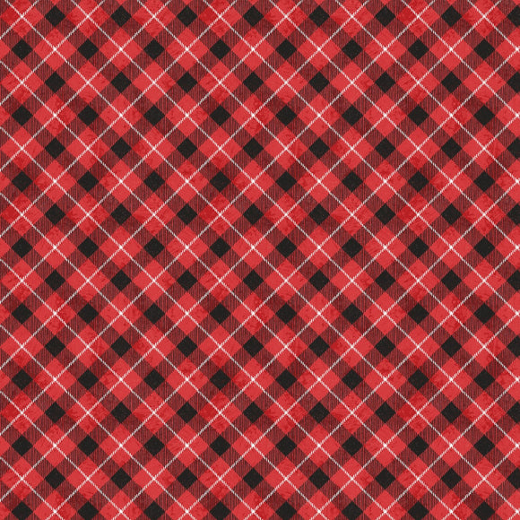 Woodland Friends Red Check Fabric 96451-391 from Wilmington by the yard