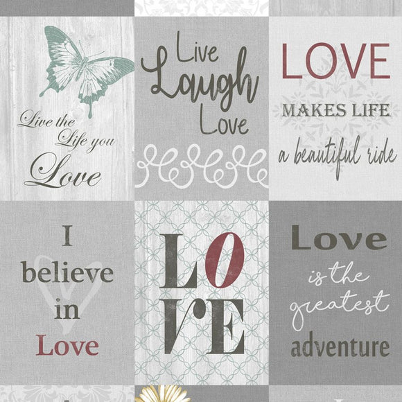 Words To Live By Love Panel 07709-99 from Contempo/Benartex by the panel