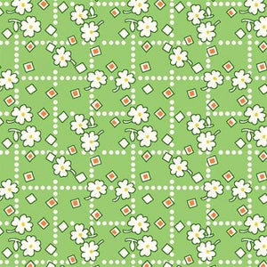 Storybook Green Diamonds & Daisies Reproduction Flannel 42088F-3
