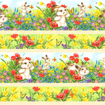 Quiet Bunny Many Colors Border Repeating Stripe Multi 71624-475