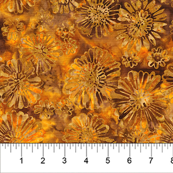 Painted Leaves Orange Floral Fall Batik Fabric 80365-59 from Banyan Batiks by the yard