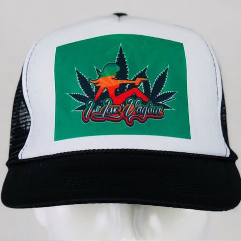 Vagina and Weed Gun Girl Trucker Hat