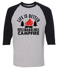 Life Is Better With A Beer And A Campfire T-Shirt - happycamperoutfitters