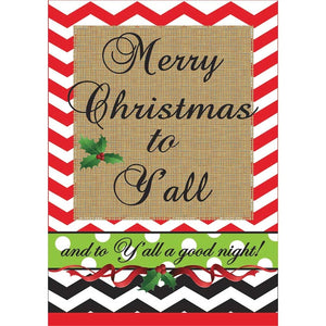 Merry Christmas Y'all Burlap/Double Applique Garden Flag