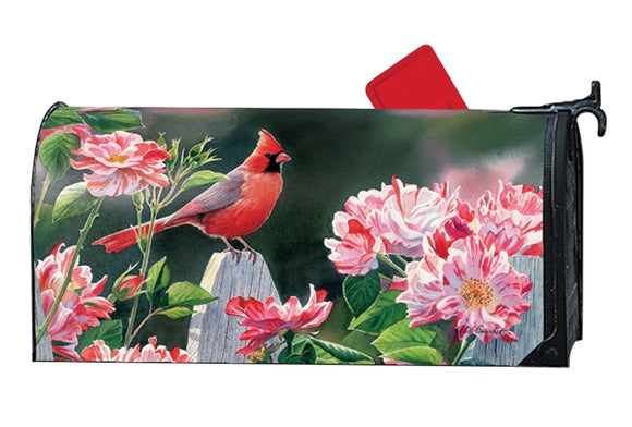 Cardinal with Variegated Roses MailWrap®