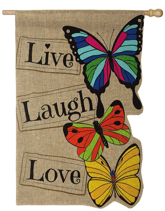 Live Laugh Love Burlap Flag
