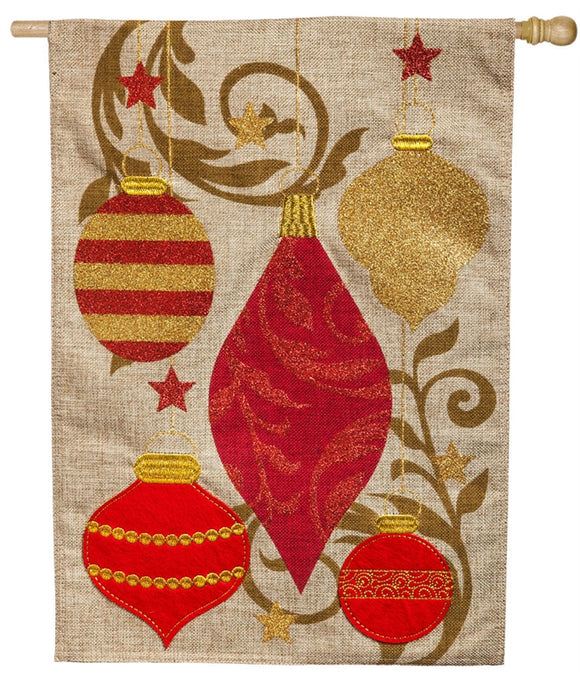 Holiday Ornaments Burlap Flag