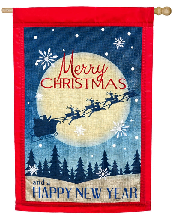 Merry Christmas Burlap Flag