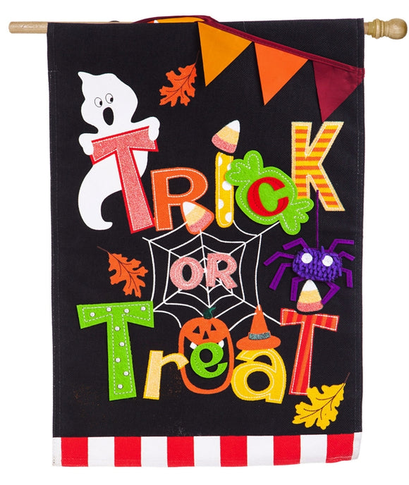 Trick or Treat Burlap Flag