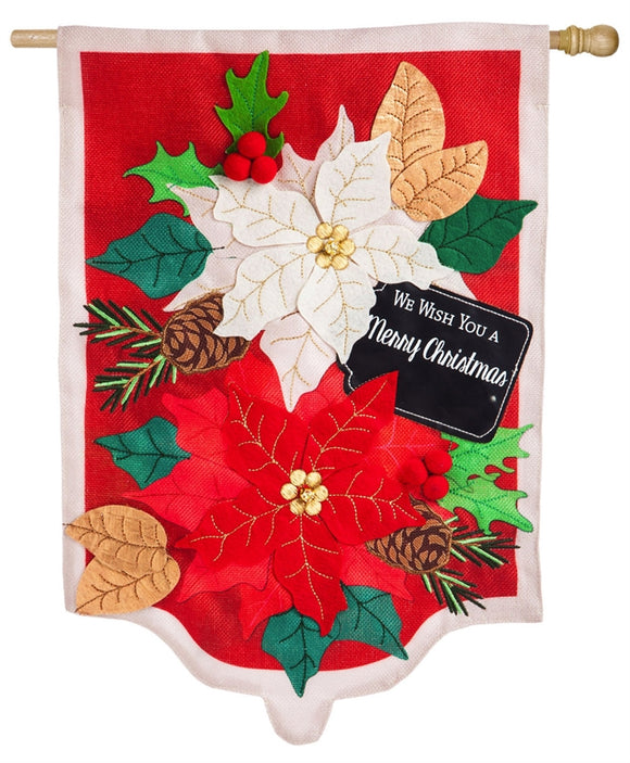 Holiday Poinsettias Burlap Flag