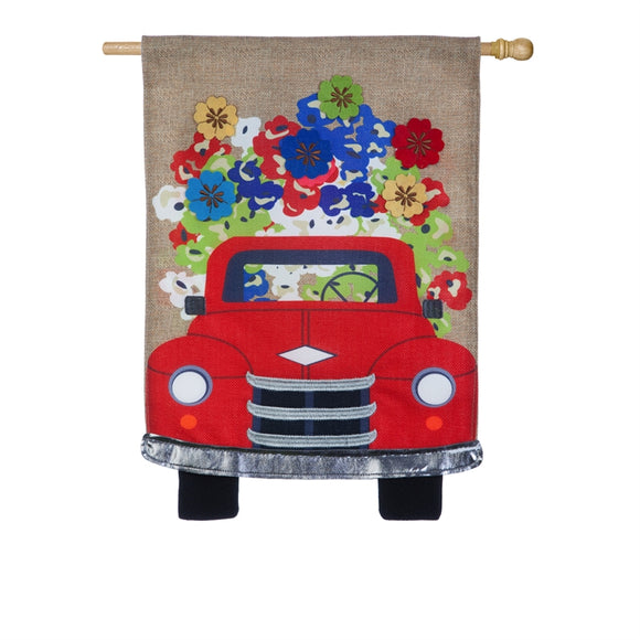 Red Truck Flowers Burlap Flag