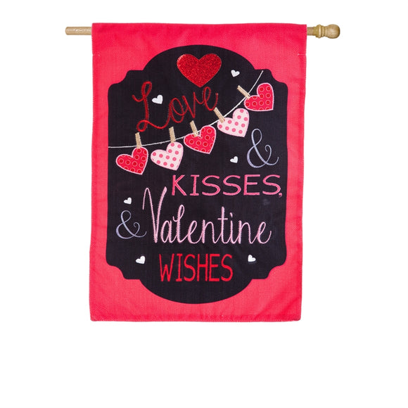 Love and Kisses Burlap Flag