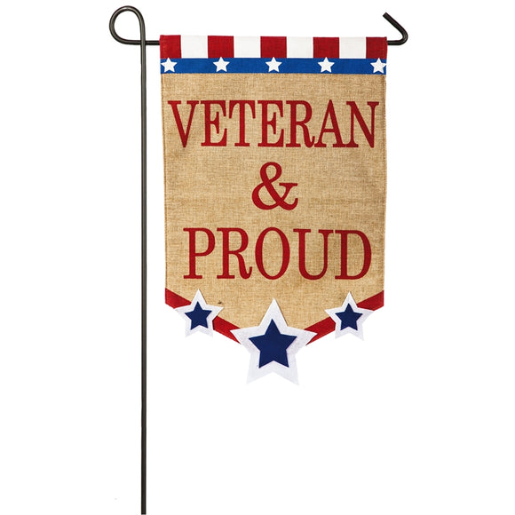 Veteran & Proud Burlap Flag