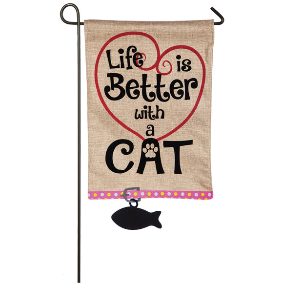 Life is Better with a Cat Burlap Flag