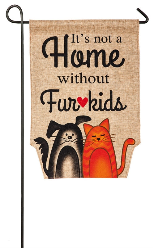 Fur Kids Garden Burlap Flag