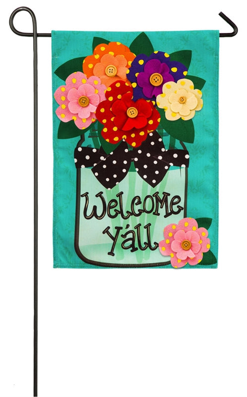 Welcome Y'all Polka Dot Flowers Burlap Flag