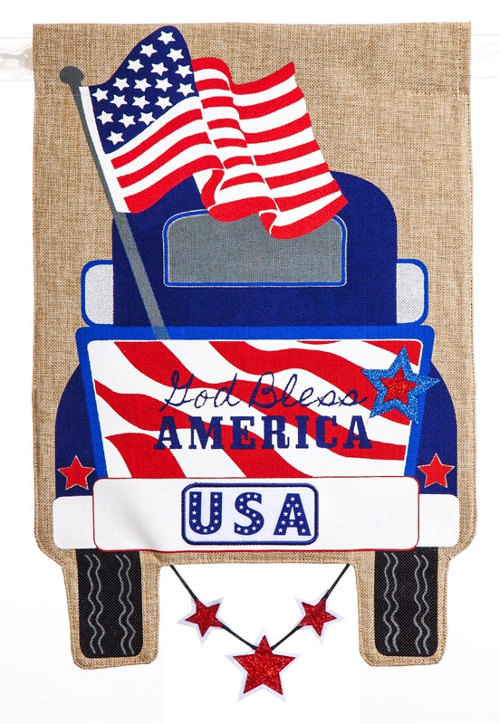 Patriotic Pick-Up Truck Burlap Flag