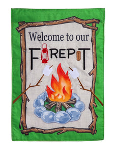 Welcome to our Firepit Garden Burlap Flag