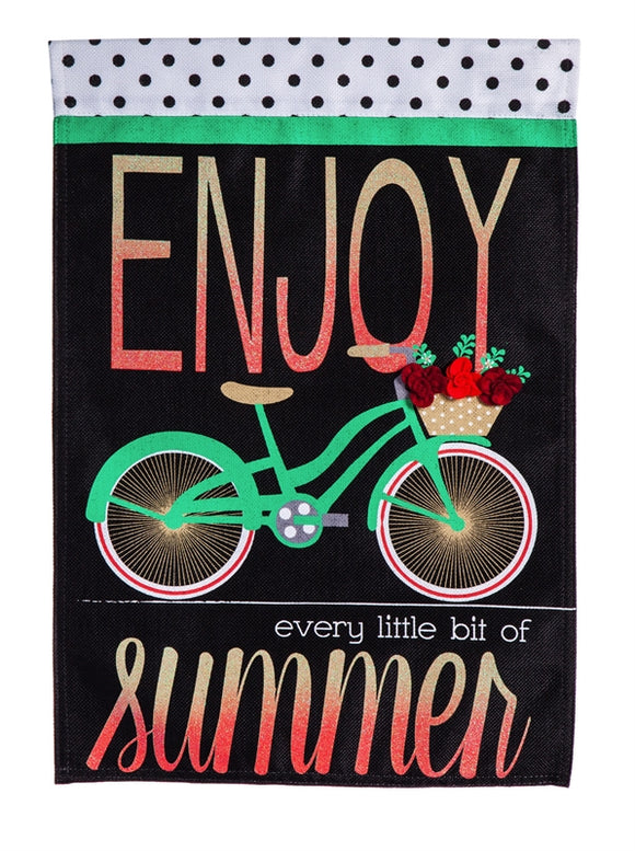 Summer Bicycle Burlap Flag