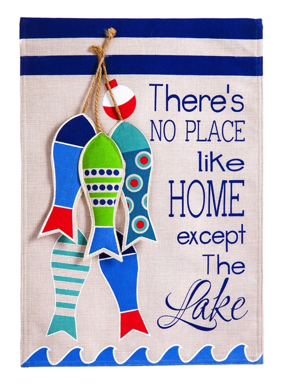 No Place Like The Lake Burlap Flag