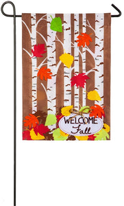Autumn Birch Burlap Flag
