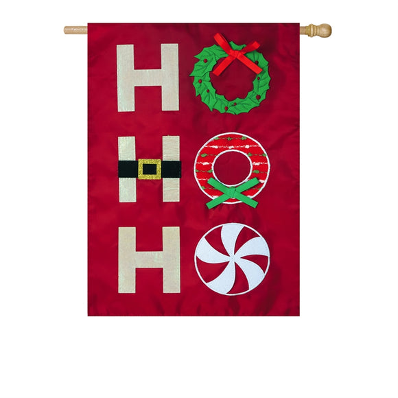Ho Ho Ho Applique Flag