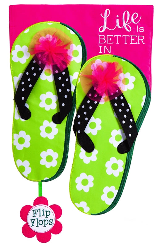 Life is Good in Flip Flops Applique Flag
