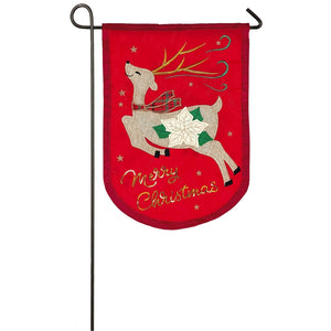 Christmas Reindeer Applique Flag