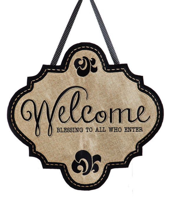 Welcome Burlap Door Decor