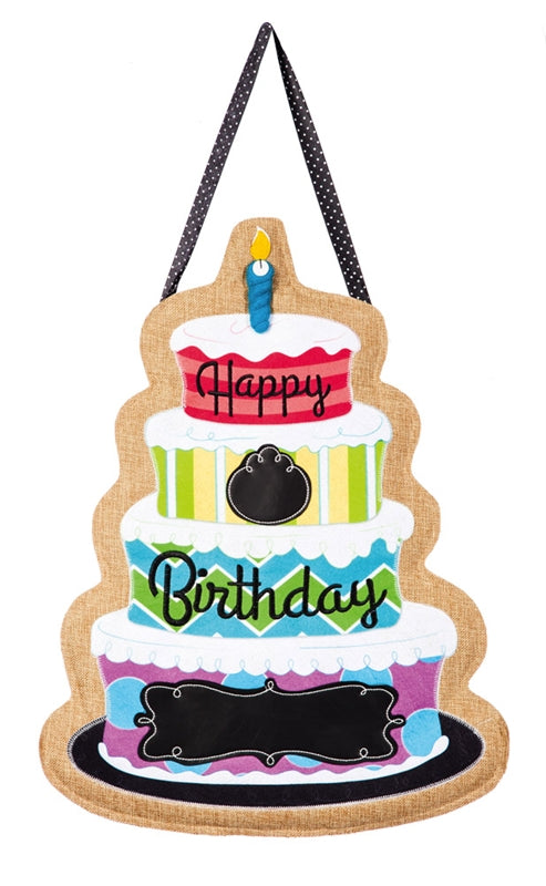 Happy Birthday Burlap Door Decor