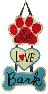 Live Love Bark Felt Door Decor