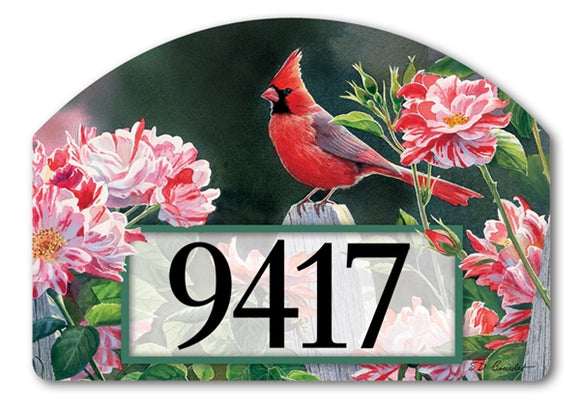 Cardinal with Variegated Roses Yard DeSign®