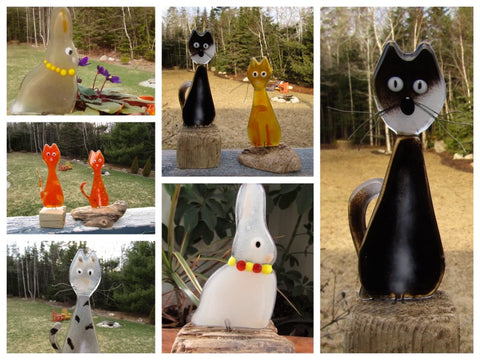 Fused Glass Cats and Rabbits