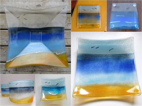 Fused Glass Beachscape Tableware