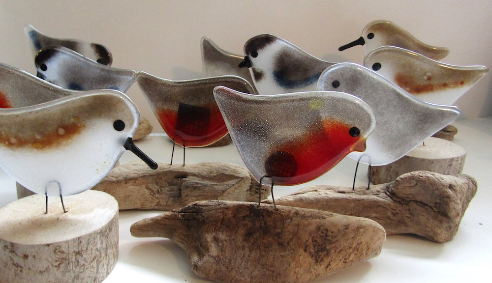 Fused Glass Shoreline and Garden Birds by The Glass Bakery