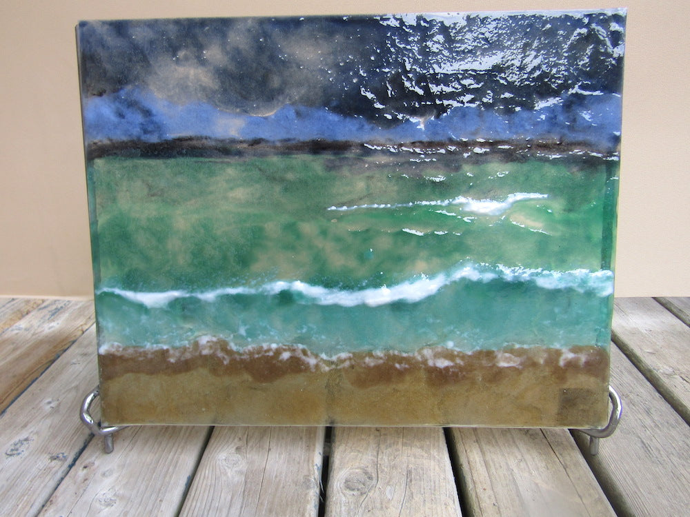Fused Glass Beach Panel inspired by the Western Isles of Scotland