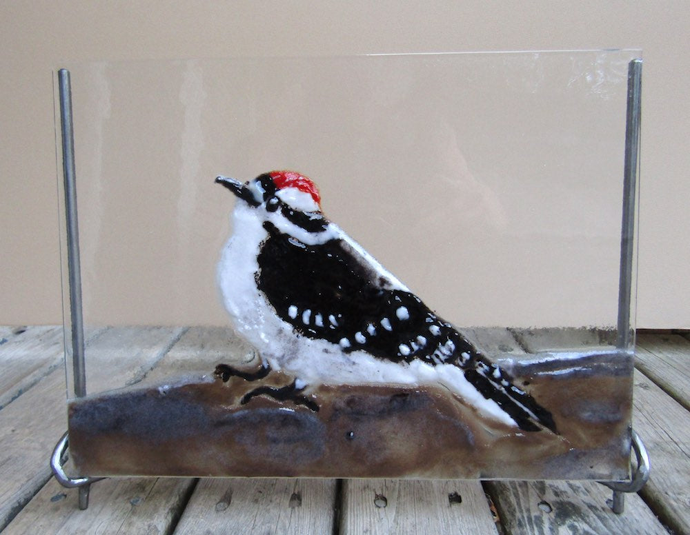 Downy Junior - Fused Glass Panel in Handforged Iron Stand