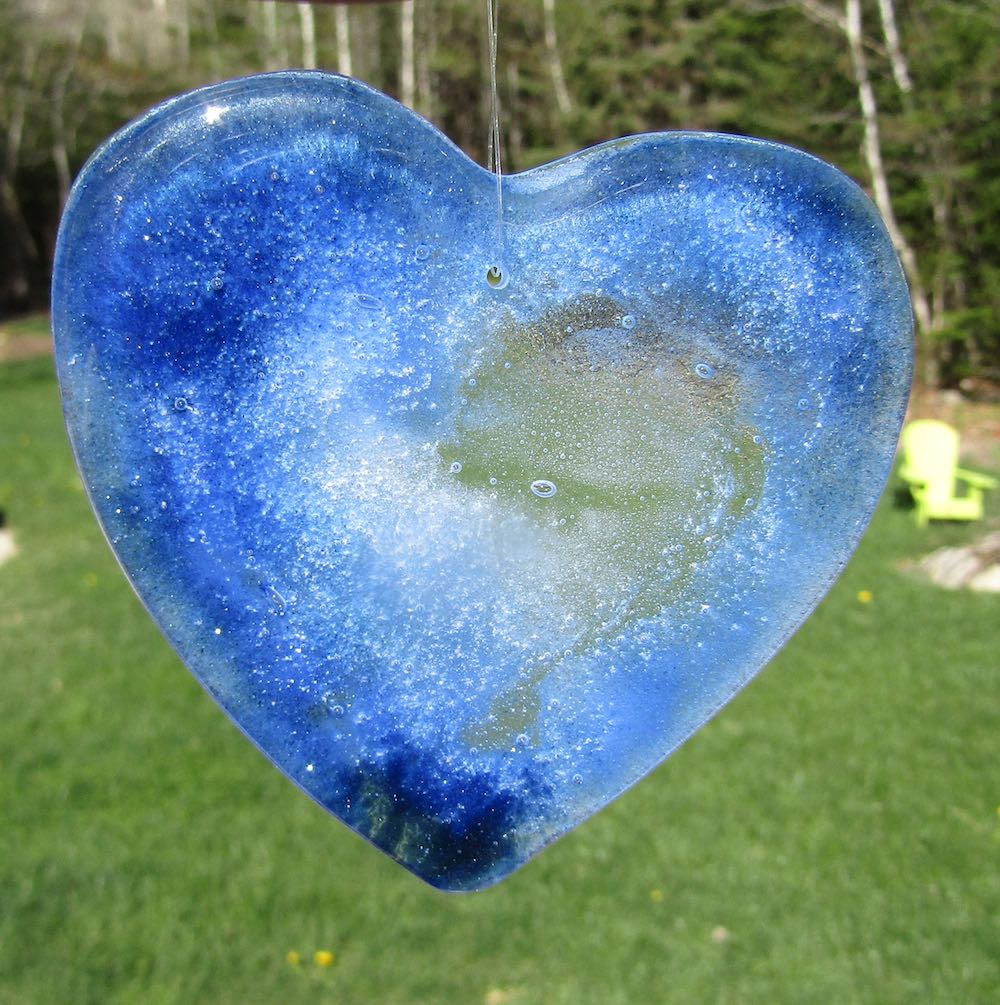 Galaxy Blue Heart Suncatcher