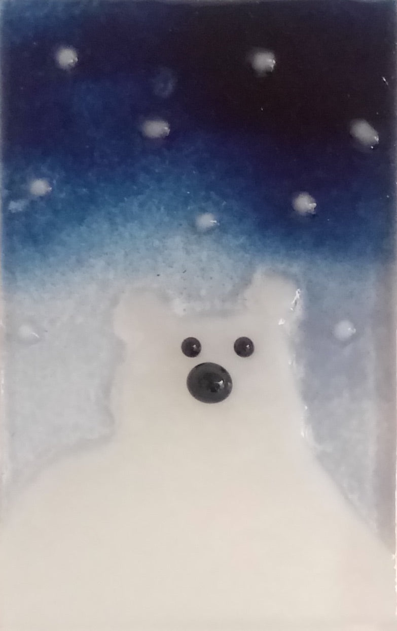 Midnight Blue Sky, Snowflakes and Polar Bear: Christmas Decoration/Ornament by The Glass Bakery