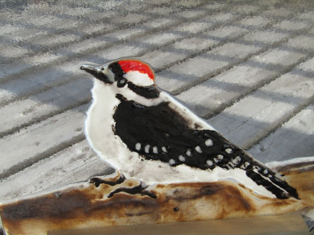 Downy Junior Woodpecker Glass Art