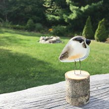 Load image into Gallery viewer, Chickadee Mini Glass Ornament against a natural backdrop