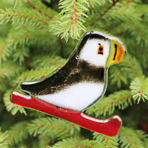 Glass Puffin Hanging Ornament with Red Sled