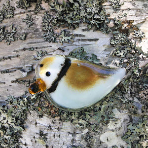 Brown and White glass cute Plover ornament