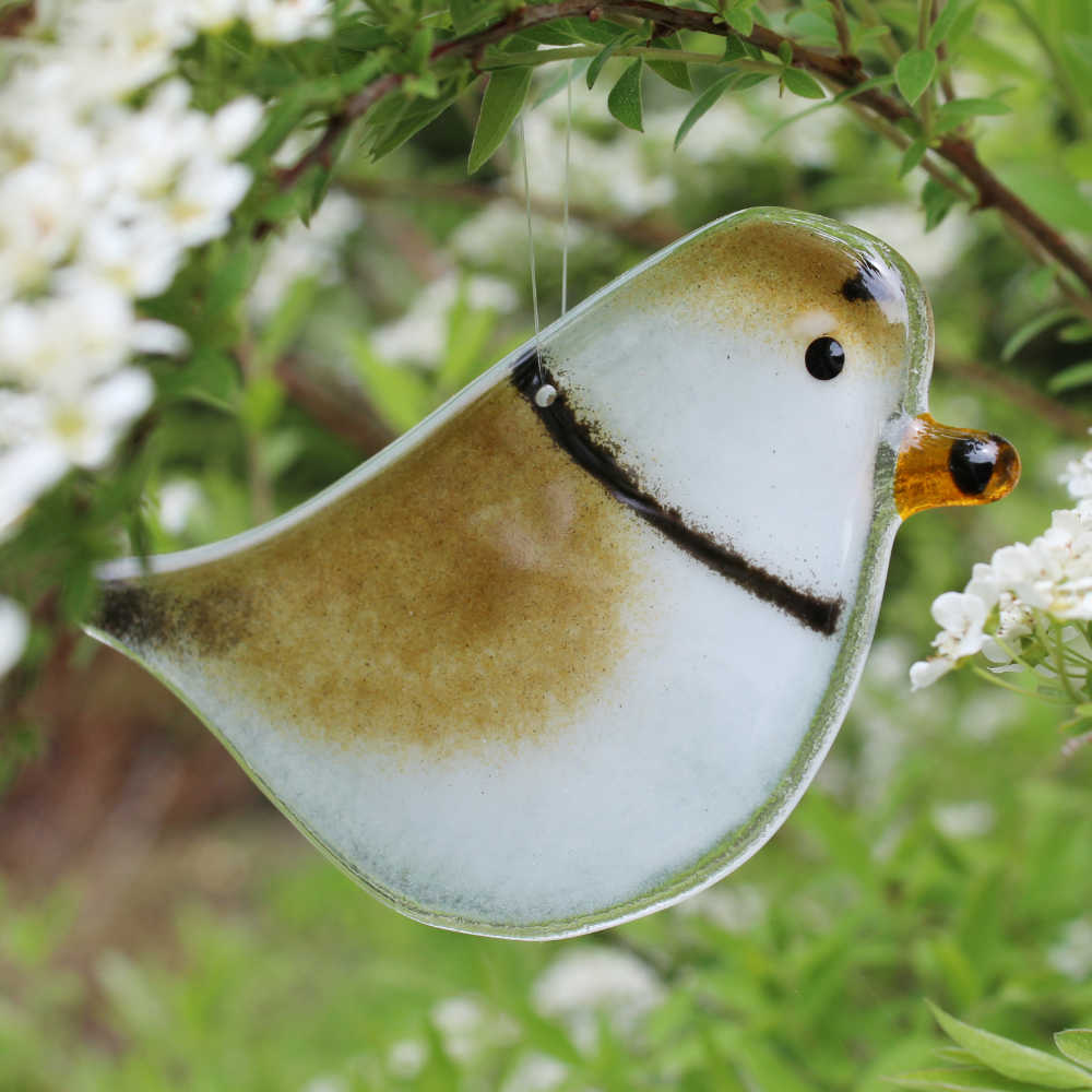 Hanging Fused Glass Plover by The Glass Bakery