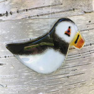 Hanging Puffin with Birch Tree background