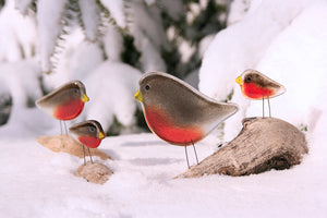 Robin Christmas Card - A family of four Glass Robins in Snow