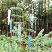 Load image into Gallery viewer, Assorted glass icicles hang on christmas tree