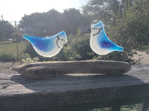 Pair of Glass Blue Jay Ornaments on Driftwood